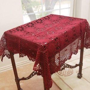 36″square crochet topper. Burgundy color. Sun Flowers Design.