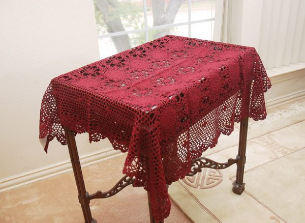Burgundy Crochet Topper, burgundy crochet tablecloths.