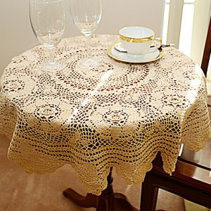 crochcet round toppers, crochet tablecloths.