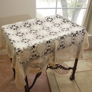 36″square crochet topper. Sun Flowers Style Ecru. (Free Shipping)