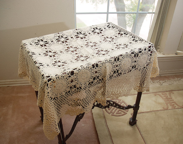 "Crcoeht tablecloth, crochet table topper. 36""square crochet tablecloths"