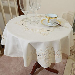 32″Round. Imperial Embroidered Table Topper.