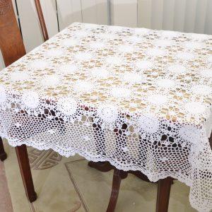 45″square crochet topper. Sun Flowers Style. White color