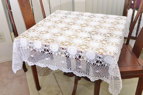 "crochet tablecloths, crochet square tablecloths, crochet 45""square tablecloths."