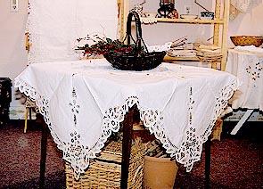 36″Square.Old Fashioned Battenburg Lace Table Topper.