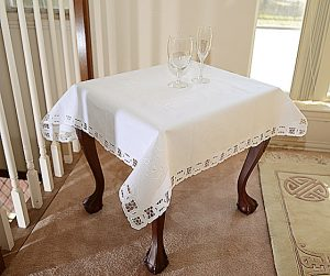 36 square table topper, cotton tabletoppers