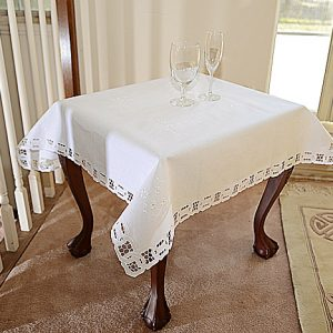 36″square. Dynasty Style table topper. White