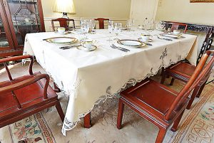 battenburg lace tablecloth Pearled Ivory colored