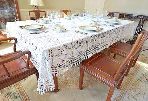 granny squiare crochet tablecloth