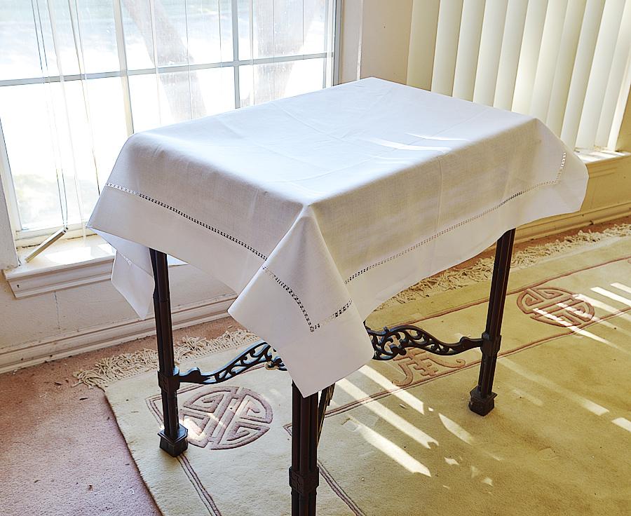 "white hemstitch square tablecloth. 36""square"