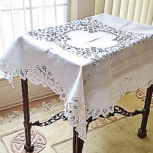 "battenburg square table topper. 36""square"