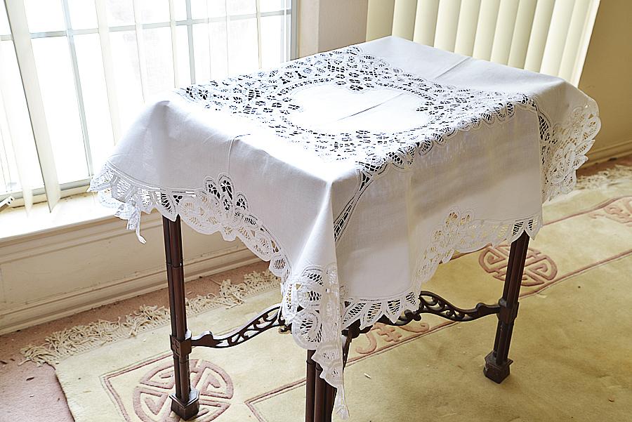 battenburg square tablecloth.