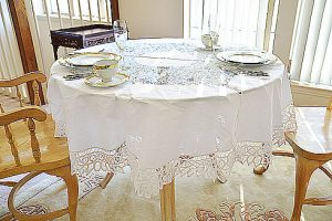 battenburg round tablecloth