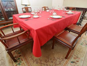 Red Hemstitch tablecloth 72x140 inches