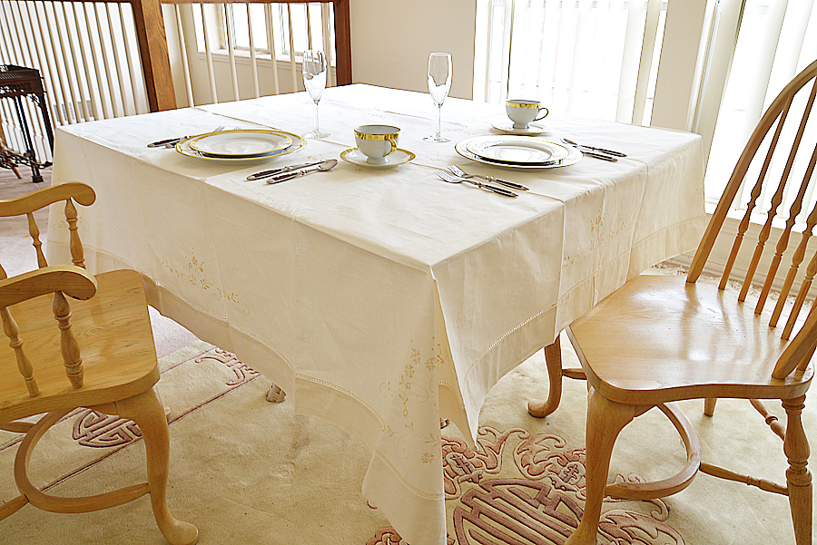 "70"" square Tablecloth."